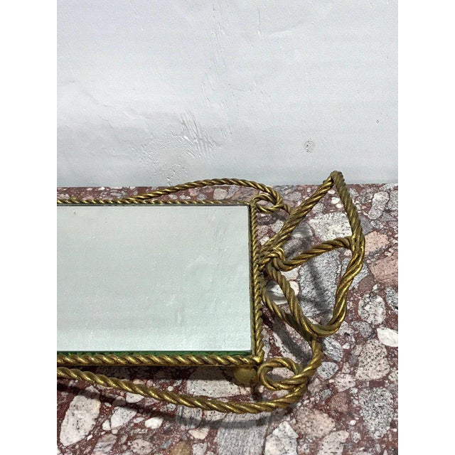 Hollywood Regency Italian Gilt Rope Motif Plateau or Vanity Tray For Sale - Image 3 of 7