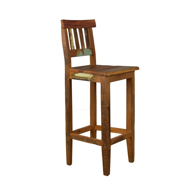 Rich in character, this bar stool made from salvaged peroba wood is not only sturdy but also comfortable. Peroba wood is a...