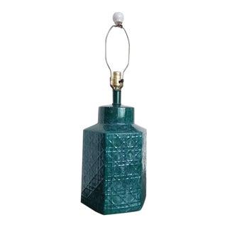 Vintage Mid 20th Century Ceramic Lamp With Latticework Design For Sale