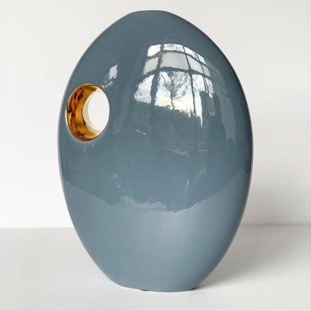 Jaru Blue and Gold Sculptural Ceramic Vase For Sale - Image 12 of 13