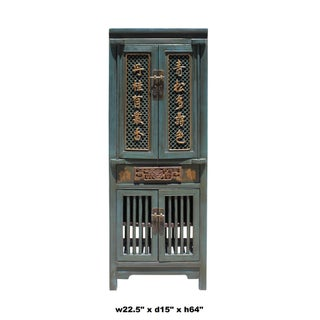 Chinese Distressed Teal Gray Blue Narrow Wood Carving Storage Cabinet Preview
