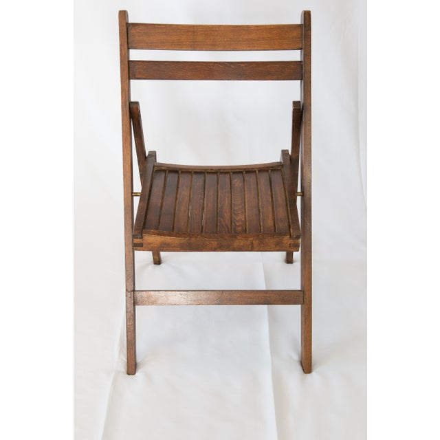Farmhouse Mid-Century Slat Wood Folding Chair For Sale - Image 3 of 6
