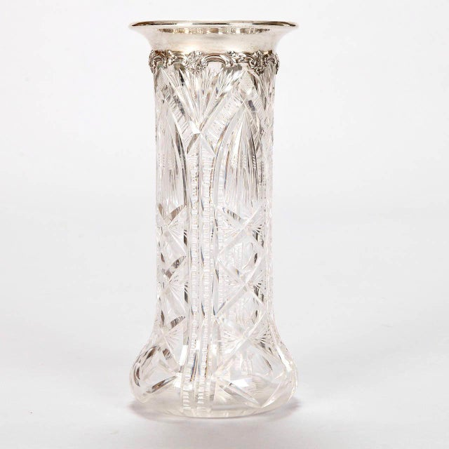 Art Nouveau English Heavy Carved Crystal Vase with Sterling Silver Rim For Sale - Image 3 of 7