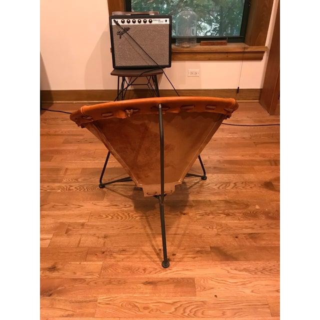 Minimalism Garza Marfa Saddle Orange Leather Round Chair For Sale - Image 4 of 5