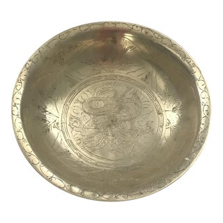 Vintage Brass Oriental Detailed Bowl