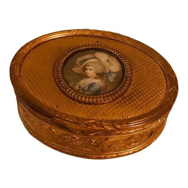 Antique French Bronze Dore Portrait Box For Sale
