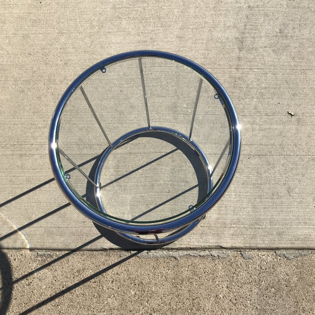 Contemporary Saporiti Circular Glass Side Table For Sale - Image 3 of 6