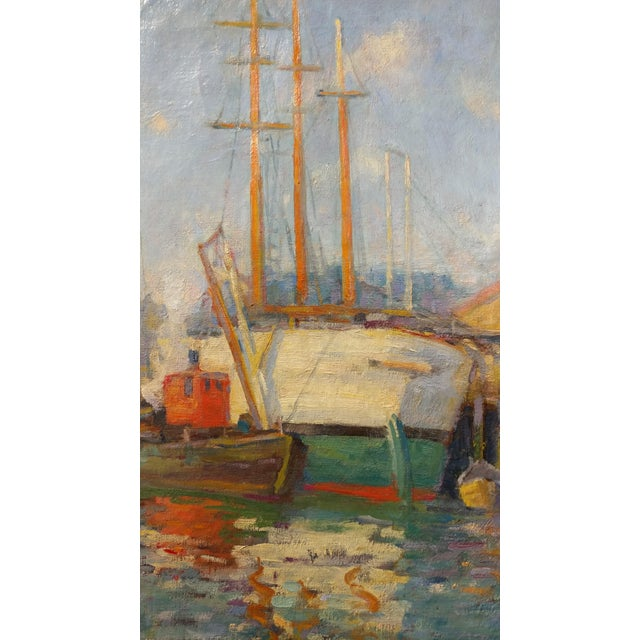 Frederick Carl Smith -Boats in the Port -Impressionist Oil painting c1930s Oil painting on Canvas -Signed - Image 4 of 10