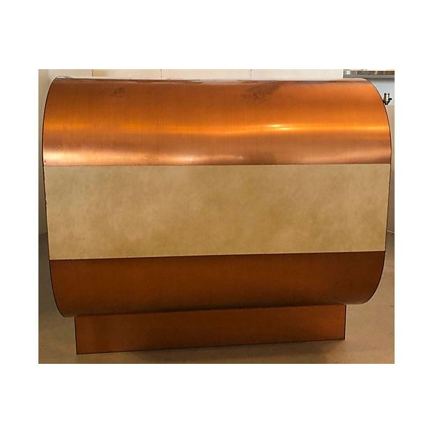 Faux Leather And Copper 1970's Desk For Sale - Image 9 of 10