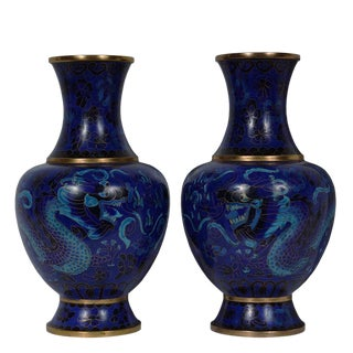Vintage Chinese Cloisonne Vases - a Pair For Sale