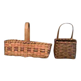 Vintage Woven American Baskets - a Pair For Sale