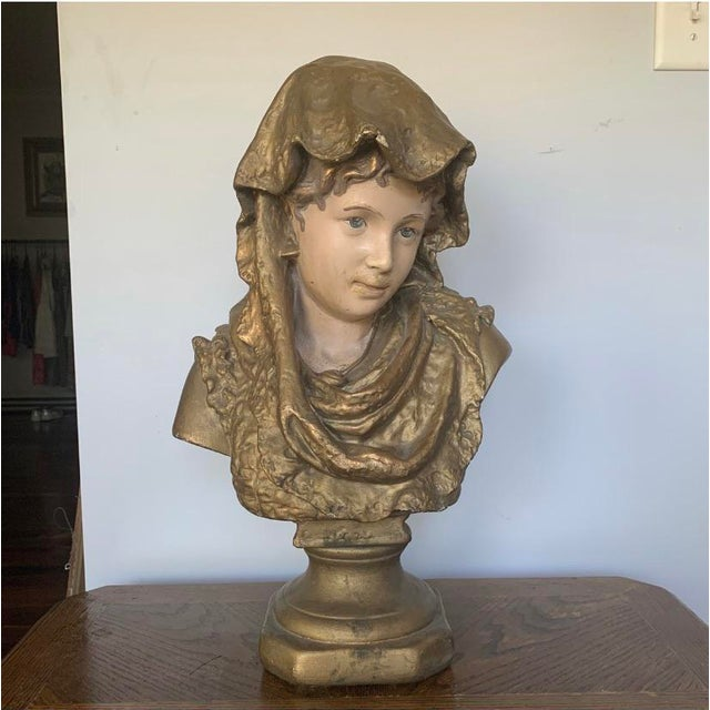 Antique 19th C. French Chalkware Bust For Sale - Image 9 of 9
