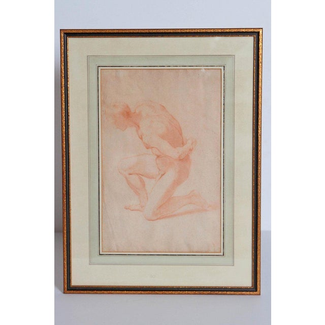 19th Century Continental Red Chalk Drawing, Figure Study For Sale - Image 9 of 12
