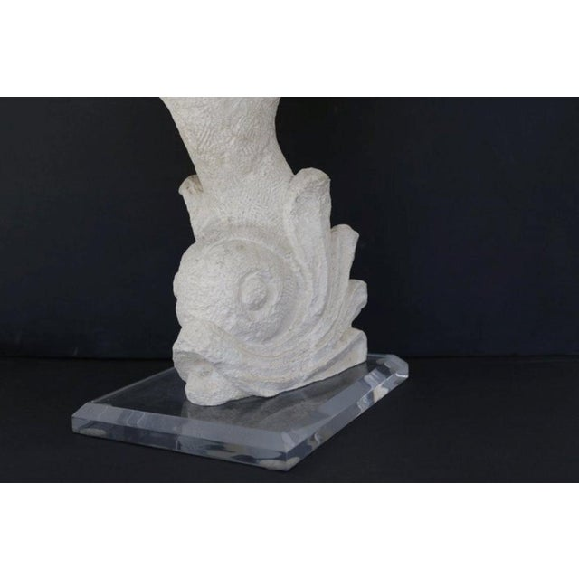 Carved Stone Dolphin Table Lamp For Sale In Los Angeles - Image 6 of 8