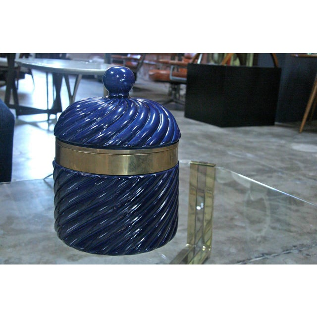 Tommaso Barbi Ice Bucket in Blue Ceramic and Brass by Tommaso Barbi For Sale - Image 4 of 8