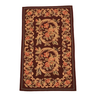 Handmade Chinese Needle-Point Carpet - 3′ × 5′ For Sale