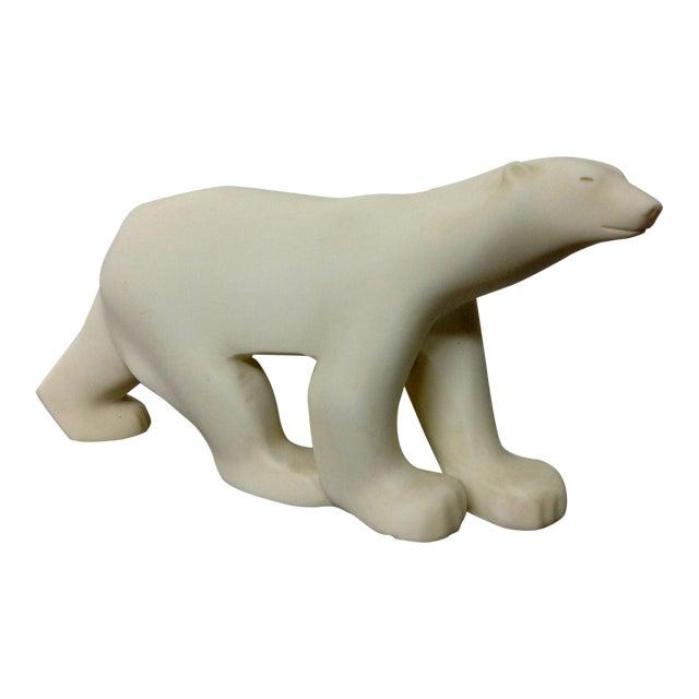 Marble Polar Bear Sculpture After Francois Pompon For Sale