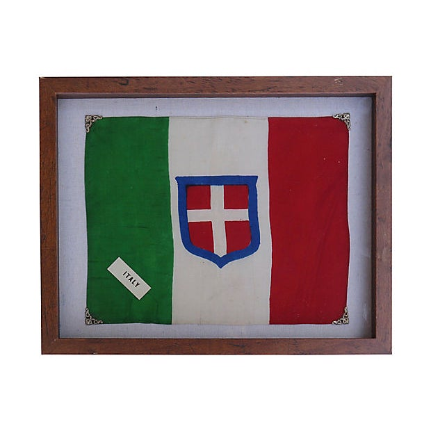 Modern 1940s Royal Sardinian Army Silk Flag For Sale - Image 3 of 3
