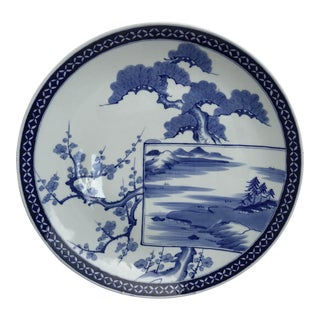 Antique Beautiful Blue and White Decorative Chines Floral Charger For Sale
