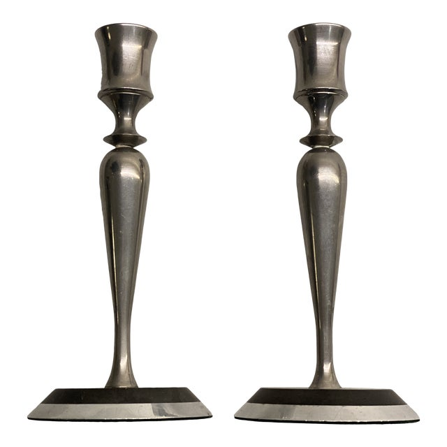 Mid-Century Metal and Stone Candlesticks - a Pair For Sale
