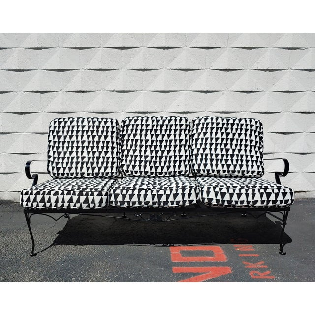 Metal Mid Century Russel Woodard Sofa With Outdoor Upholstery For Sale - Image 7 of 9