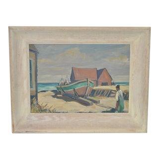 Fred Korburg (California / Denmark) Mid Century Original Oil Painting C.1950s For Sale