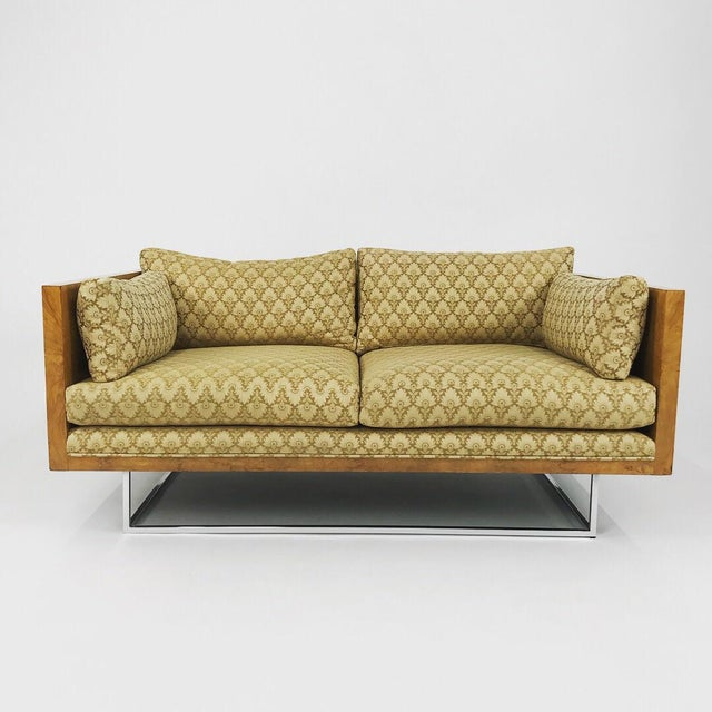 2 Seater Olive Burl Sofa With Chrome Base Designed by Milo Baughman for Thayer Coggin For Sale - Image 13 of 13
