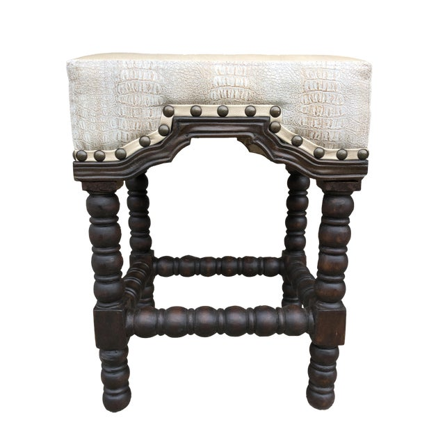 Boho Chic Zenith Backless Cream Crocodile Embossed Leather Bar Stool For Sale