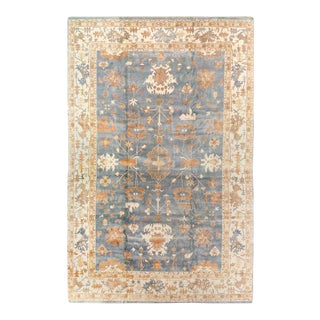 Pasargad Light-Blue Fine Hand Knotted Oushak Rug 12' X 18' For Sale