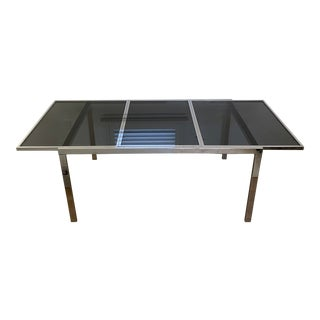1970's Chrome and Smoked Glass Extension Dining Table by Milo Baughman For Sale