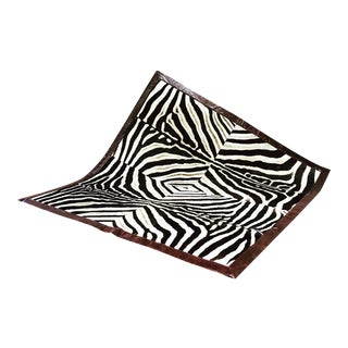 Square Patchwork Leather Trimmed Zebra Hide Area Rug- 7' x 7' For Sale