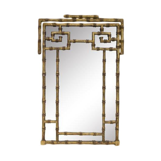 1960s Vintage LaBarge Faux Bamboo Greek Key Mirror For Sale