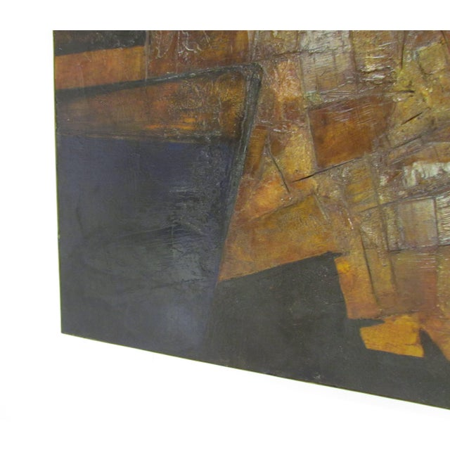Brutalist Abstract Modernist Painting by Berkshire Artist John Stritch, 1963 For Sale - Image 4 of 10