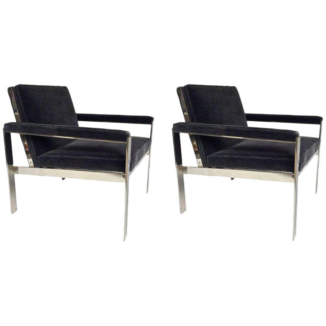 1970s Knoll Chrome & Mohair Lounge Chairs - A Pair For Sale
