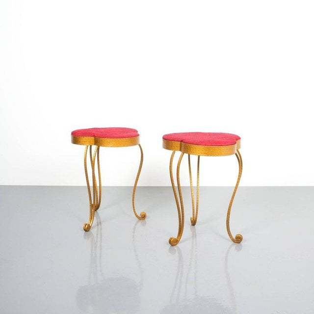 Pair of Pier Luigi Colli Gold Iron Clover Stools Red Fabric, Italy, 1950 For Sale - Image 5 of 9