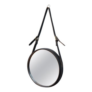 French Leather Round Wall Mirror For Sale