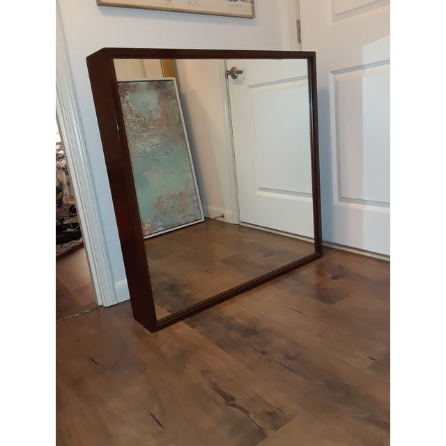 Contemporary Mid-Century Modern Wood Framed Mirror For Sale - Image 3 of 10