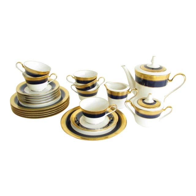 Vintage Noritake Cobalt and Gold Encrusted Band Tea Set - 21 Pieces For Sale