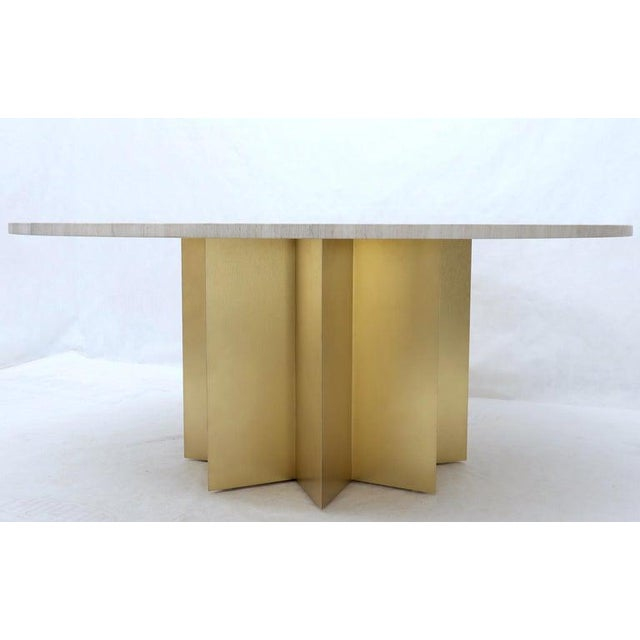 """Late 20th Century 72"""" Diameter 1"""" Travertine Marble-Top Round Dining Conference Table Star Base For Sale - Image 5 of 13"""