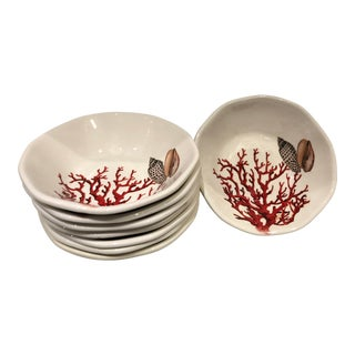 Italian Coral Motif Salad Plates, S/8 For Sale