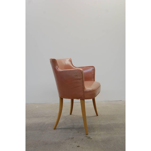 Edward Wormley Set of Four Early Dunbar Dining Chairs in Leather For Sale - Image 4 of 7