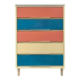 Mid 20th Century Multi-Color Chest of Drawers For Sale