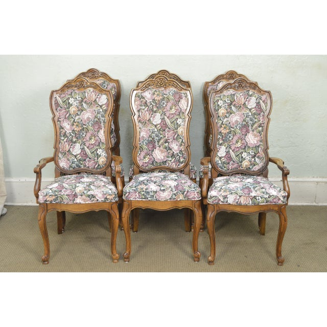 Thomasville Vintage French Louis XV Style Set of 6 Dining Chairs For Sale - Image 11 of 12