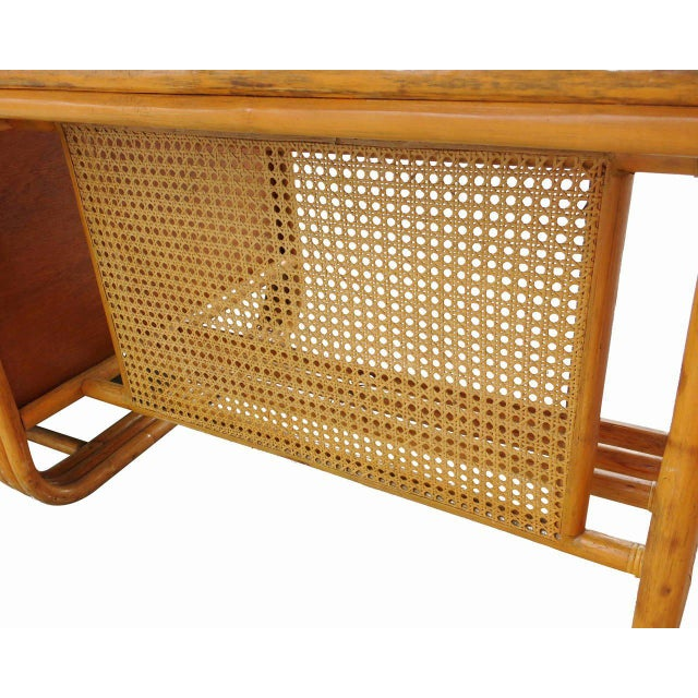 Tan Restored Large Jean Royère Style Streamline Rattan Executive Desk For Sale - Image 8 of 8
