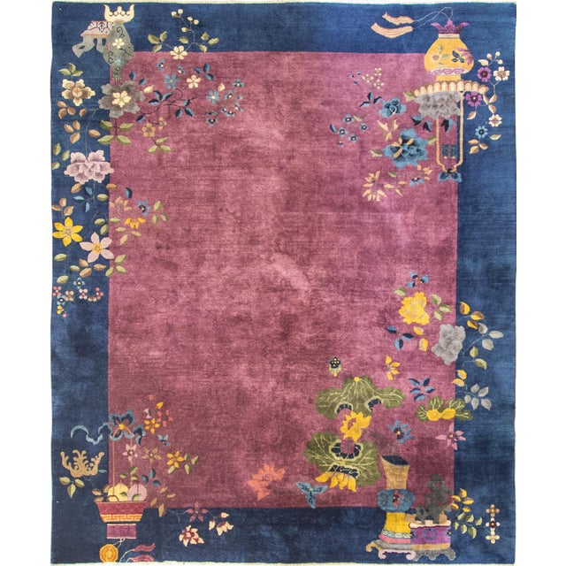 """Antique Art Deco Chinese Oriental Rug-8' X 9'6"""" For Sale"""