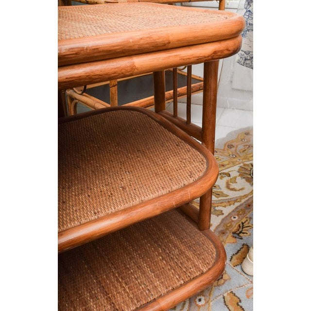 Vintage Rattan & Bamboo 3 Tier Dry Bar For Sale In Palm Springs - Image 6 of 9