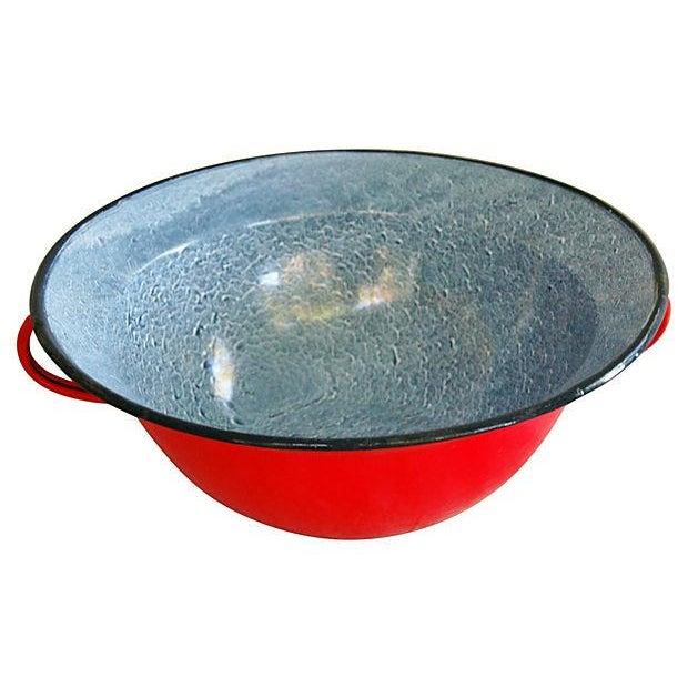 Red 1940s European Enamelware Harvest Bowl - Image 5 of 7