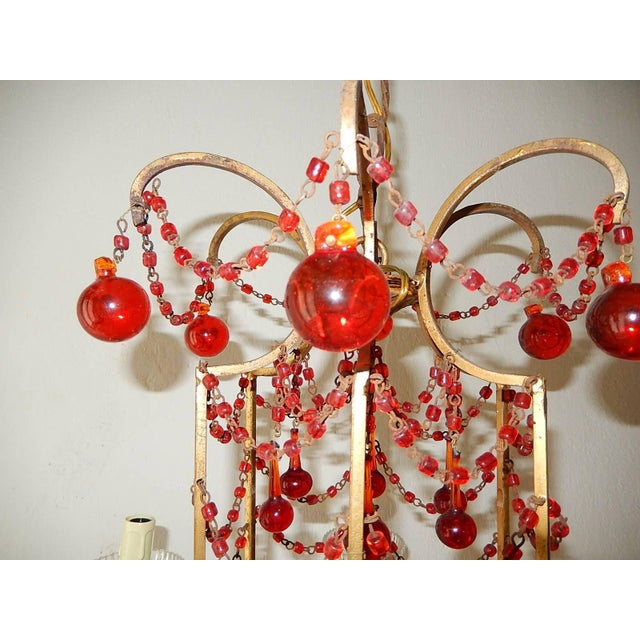 French Red Murano Ball and Chains Chandelier, circa 1940 For Sale In Los Angeles - Image 6 of 11