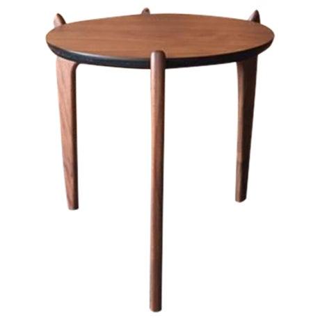 Custom Walnut Sculpted Legs Side Table For Sale