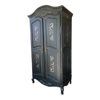 Vintage Black & Gold Stenciled Armoire
